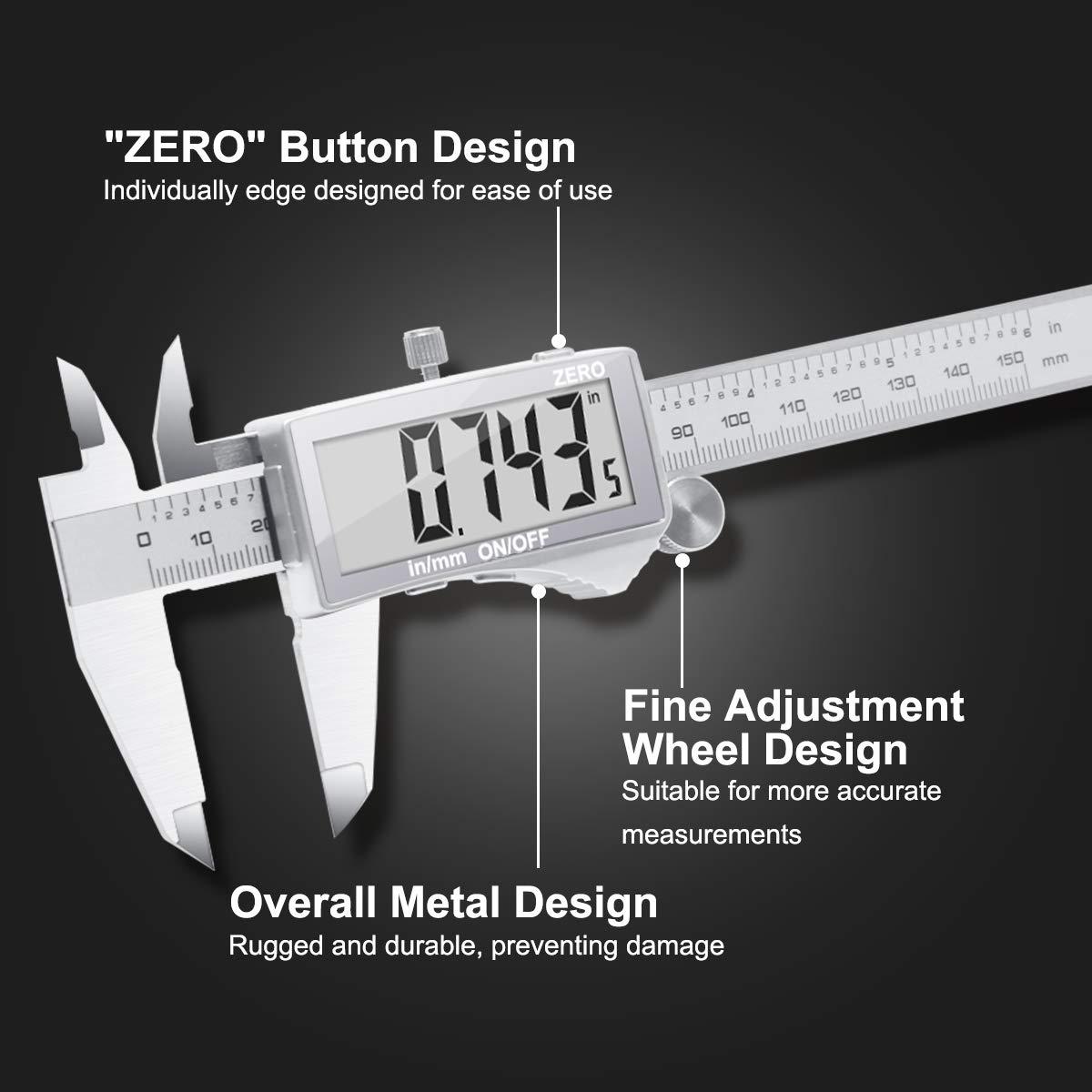 Spaziatura e Profondit/à ecc Calibro a Corsoio per Lunghezza Diametro Calibro Digitale,Wukong Caliper metrico da 150 mm//6 Pollici con Schermo Grande e Chiaro