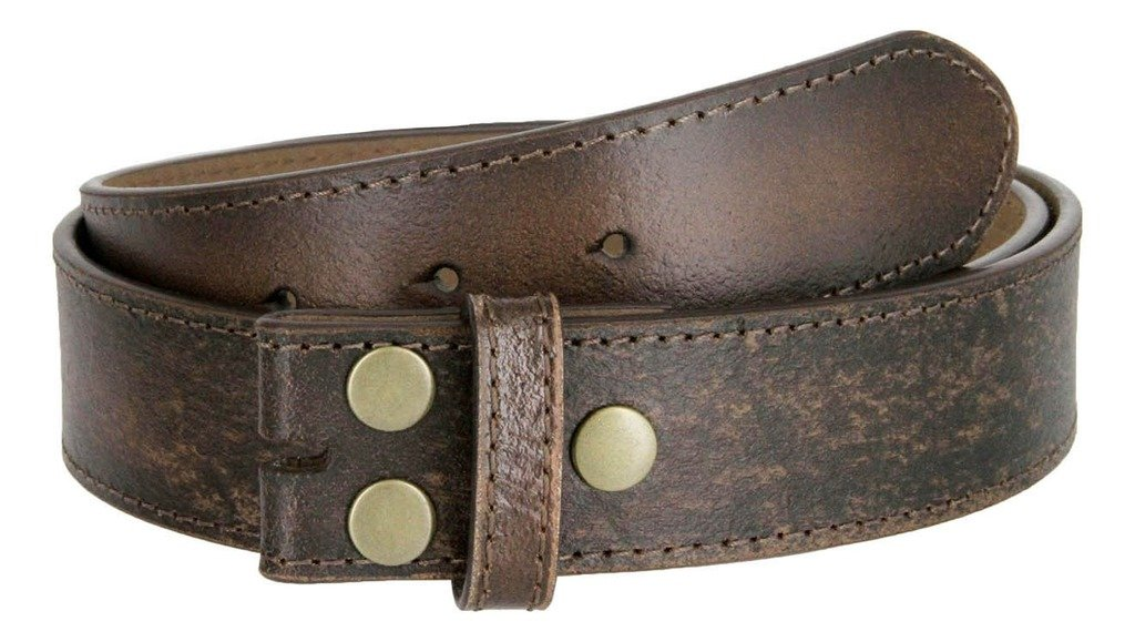 Classic Vintage Distressed Casual Jean Leather Belt Strap (XL(40''-42''), Dark Brown)
