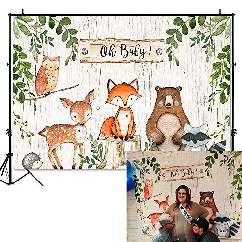 Mehofoto Woodland Baby Shower Backdrop Woodland Animals Photography Background 7x5ft Vinyl Woodland Baby Shower Party Banner Backdrops]()