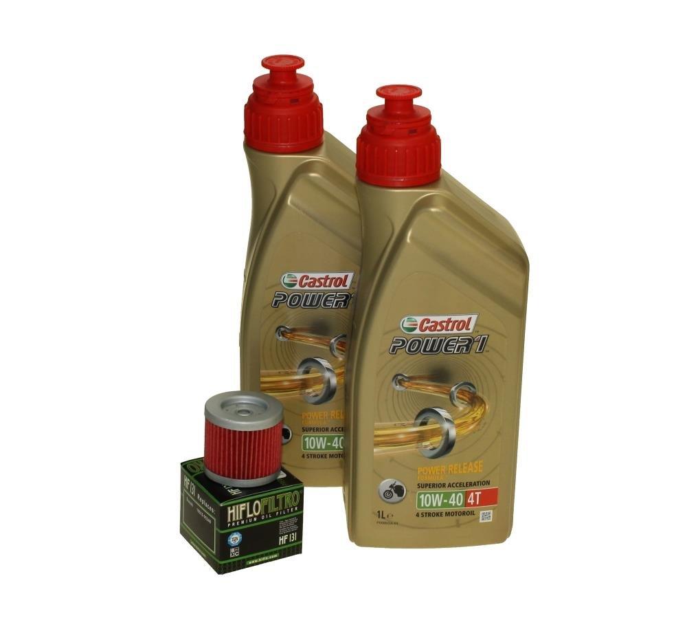 Cambio de aceite Set 2 litros Castrol SAE 10 W de 40 Power 1 4t Incluye Filtro de aceite HiFlo hf131 para Suzuki, Kreidler, Sachs, Hyosung GA 125, RT ...