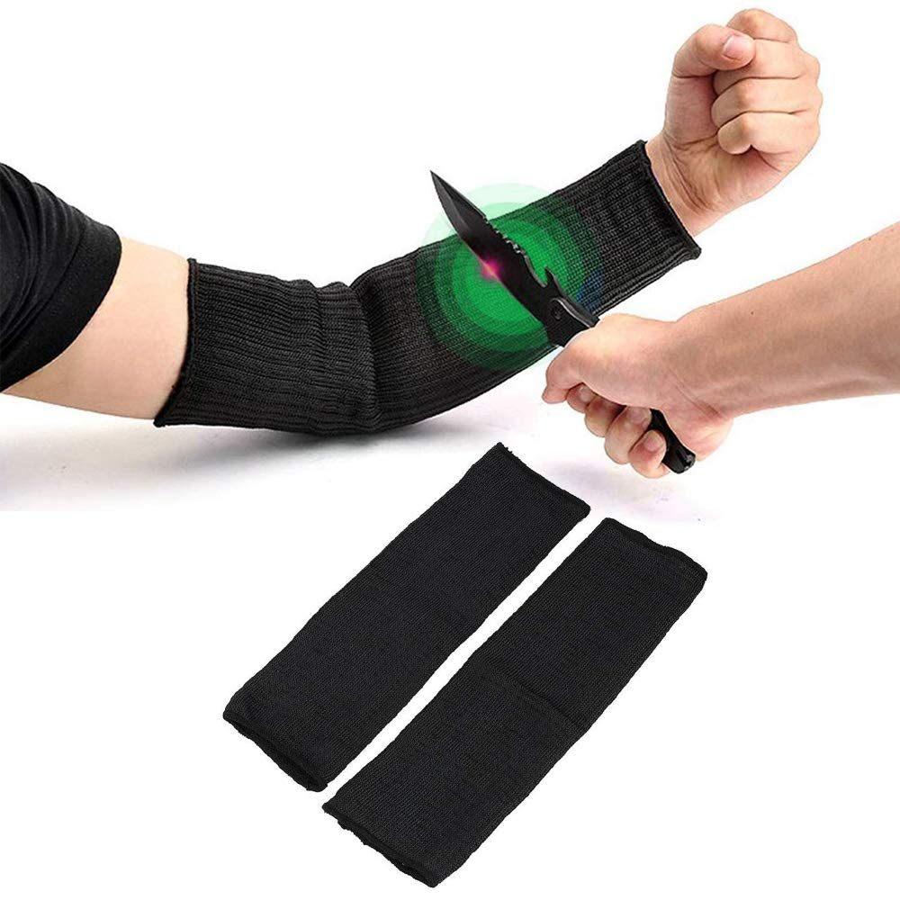 Arm Protective Sleeve, 1 Pair Kevlar Anti Cut Sleeves Safety Heat Resistant Armband for Gardening, Kitchen, Running, Cycling, Fishing, Black