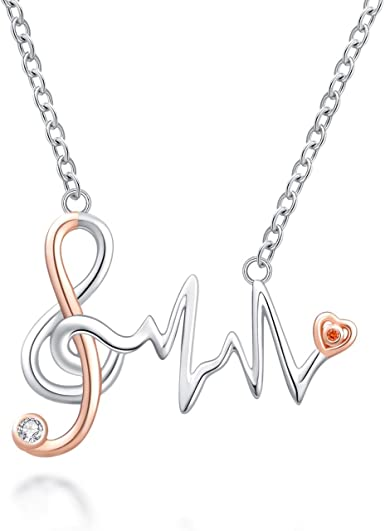 Women/'s Girl Fashion Stainless Steel Silver Musical tone Pendant w// Necklace