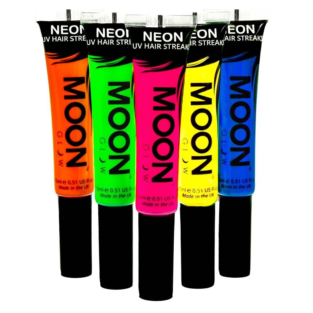 Moon Glow –Mèches de cheveux colorées néon UV 15mlAssortiment de 5 couleurs.qui produisent un effet fluo incroyable sous la lumière ultraviolette ou noire !