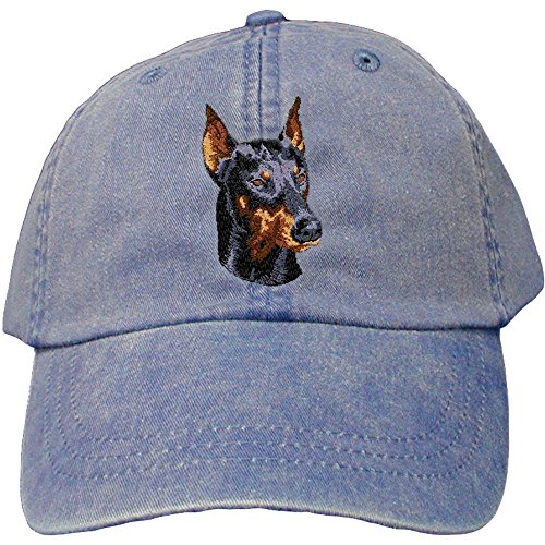 Cherrybrook Dog Breed Embroidered Adams Cotton Twill Caps - Royal Blue - Doberman ()