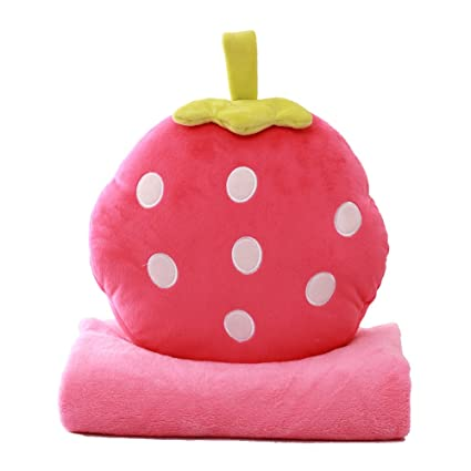 Batteries Air Condition Blanket Pillow Travel Office Nap Blanket 3 In 1 Fruit Air Conditioner Quilt Pillow