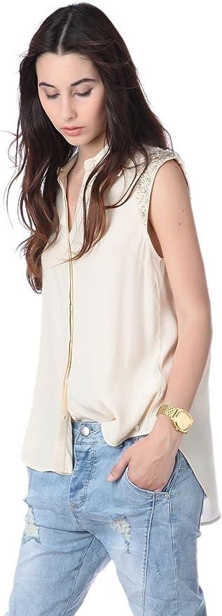 Q2 Mujer Camisa con Adorno en los Hombros Beige - One ...