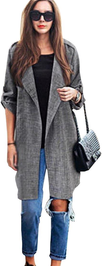 , Gris XL EU Size:40 Vovotrade ❀❀Manteau Fashion Womens Front Ouvert Long Trench Cape Vestes Pardessus Waterfall Cardigan