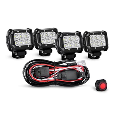 Nilight 4PCS 4 Inch 18W Flood LED Light Bars Led Work Lights Fog Lights Off Road Light Driving Lights With Off Road Wiring Harness, 2 Years Warranty: Automotive