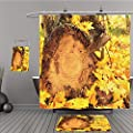 Uhoo Bathroom Suits & Shower Curtains Floor Mats And Bath Towels 211166314 Autumn maple leaves and log For Bathroom