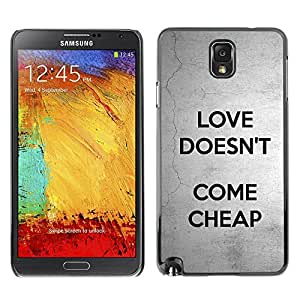 Impact Case Cover with Art Pattern Designs FOR Samsung Note 3 N9000 Love Doesn'T Come Cheap Text Grey Black Betty shop
