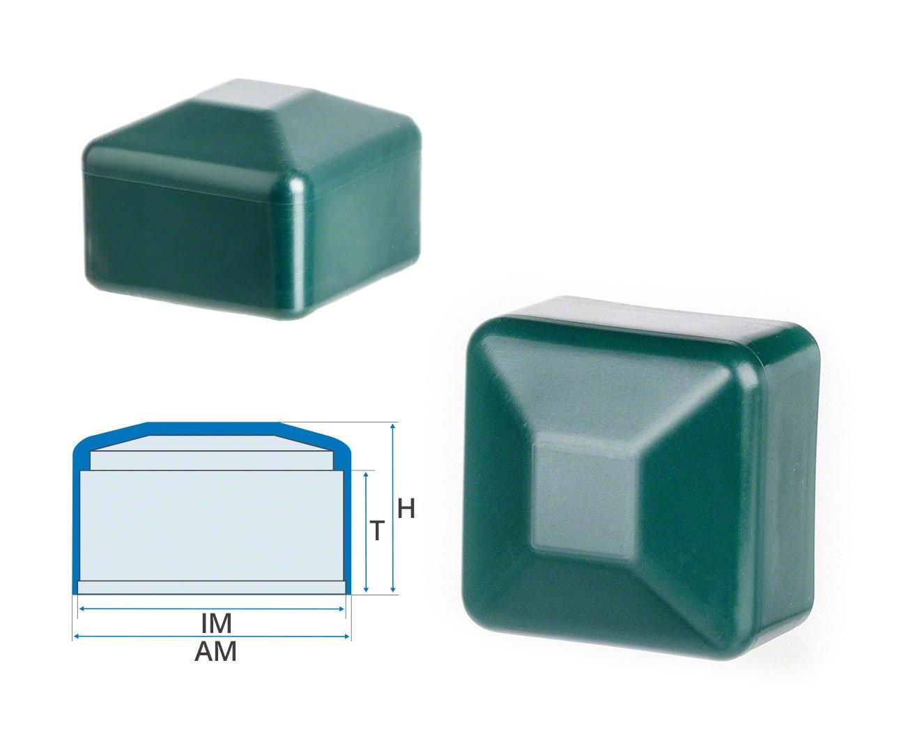 Zaunpfahlkappe quadratisch 60x60 mm Gr/ün Kunststoff Pfostenkappen Abdeckappen 10 Stck