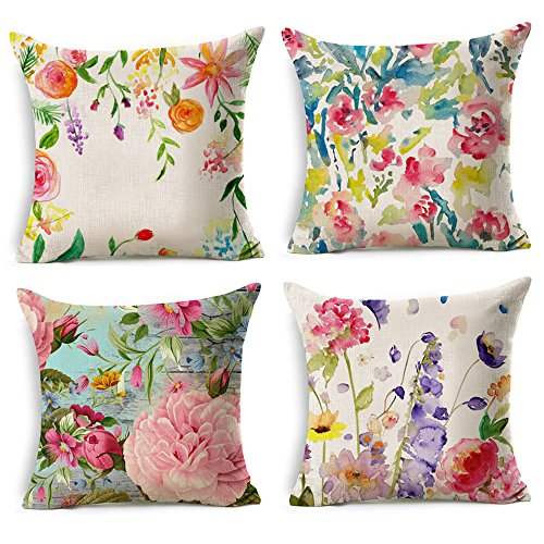 WOMHOPE 4 Pcs Colorful Spring Flower Throw Pillow Covers Cases Cotton Linen Burlap Square Decorative Cushion Covers Pillowcase Cushion Case for Sofa,Couch 18 x18 Inches (Flower)