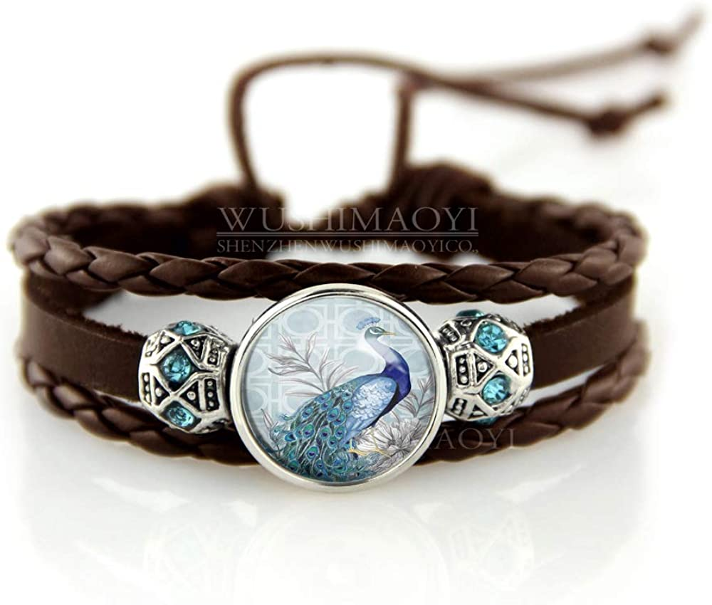 WUSHIMAOYI Beautiful Peacock Bracelet Peacock Jewelry Glass Dome Art Bracelet Jewellery Customize Your Own Style