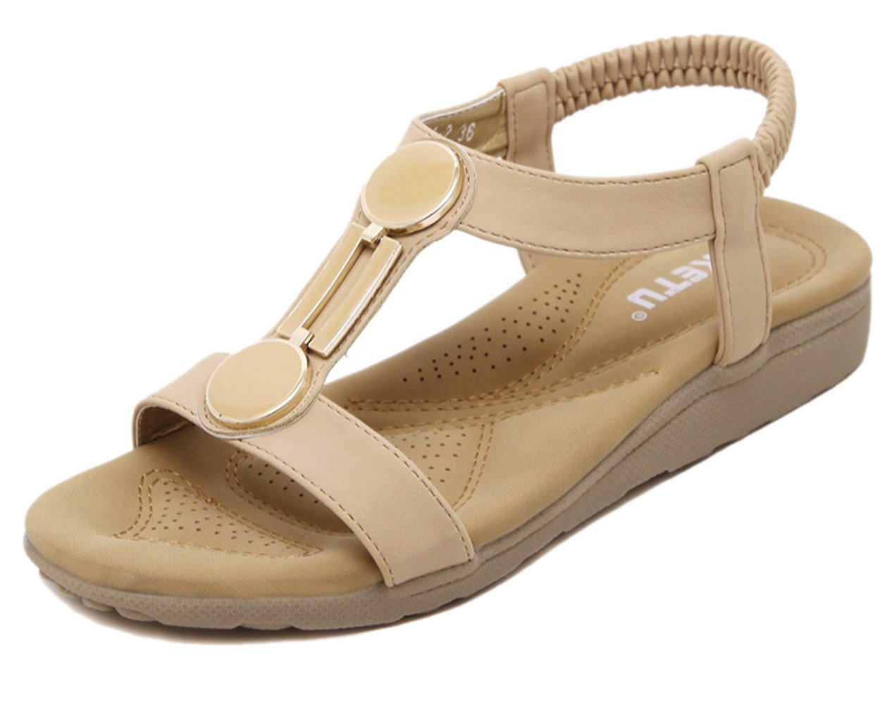 DQQ Damen Offener Zehenbereich T Strap Flache Sandalen, Schwarz - Schwarz - Größe: 38