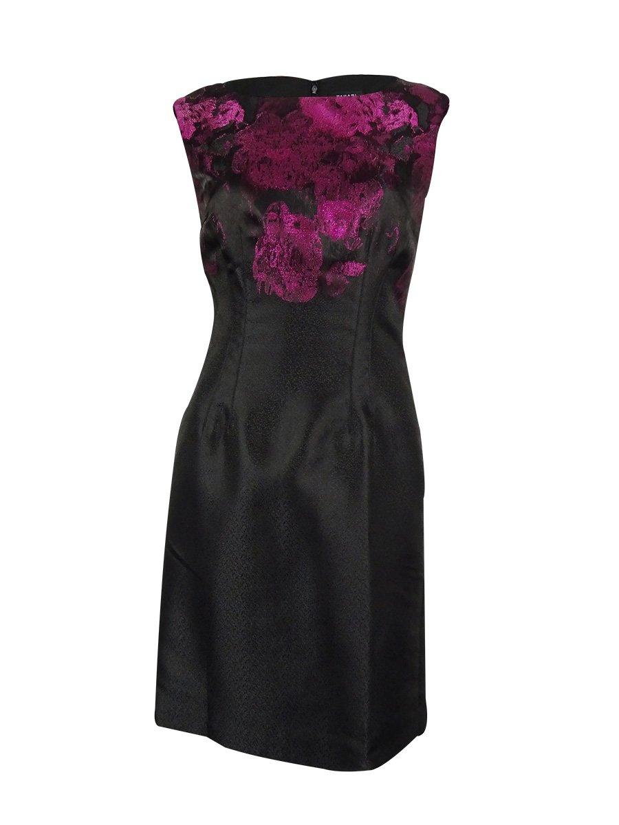 Tahari By ASL Pink Women's Sheath Printed Dress Black 10