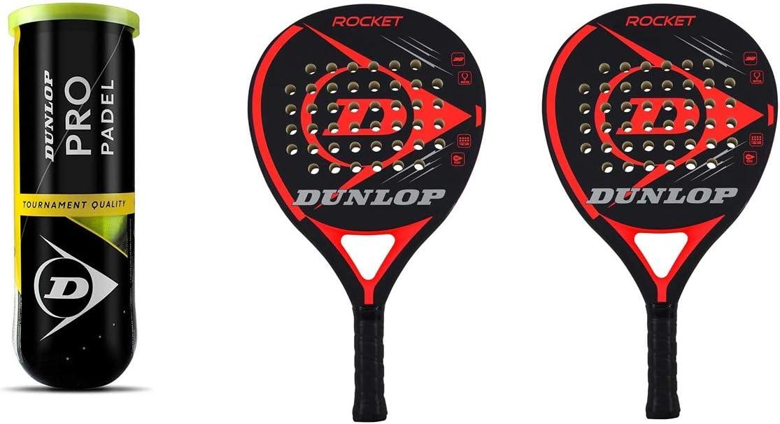 Dunlop Rocket Red - Juego de raquetas y 3 pelotas Dunlop Pro