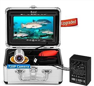 Eyoyo Underwater Fishing Camera, Ice Fishing Camera Portable Video Fish Finder, Upgraded 720P Camera w/ 12 IR Lights, 1024x600 IPS 7 inch Screen, for Ice, Lake, Boat, Sea Fishing (15m)