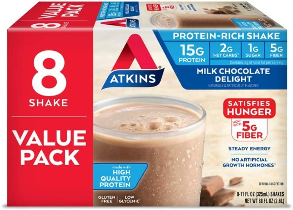Atkins Milk Chocolate Delight Protein-Rich Shake. Rich and Creamy with High-Quality Protein. Keto-Friendly and Gluten Free. Value Pack. (8 Shakes): Health & Personal Care