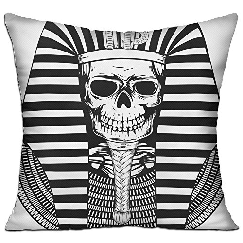 Air Core Mummy - VivianYan Egyptian Pharaoh Ruler Mummy Skull Cotton Linen Square Throw Pillow 1818 Inch Contain Core