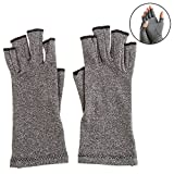 Widelin Compression Gloves Copper Hands Arthritis Gloves Relieve Pain Hand Gloves Fingerless for Computer Typing and Dailywork Support for Hands (l)