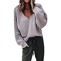 Femme Pull en Tricot LâChe Fleece Blouse Tops Femme Pas Cher Sexy Automne Hiver, Pullover Blouson Tops Mode Veste Softshell Manteau Col V Chaud