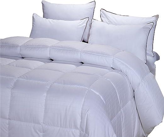 King//Calking Dobby Checkered Striped White Duck Down Comforter Cotton 300TC