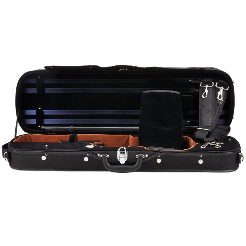 ADM Professional Sturdy Violin Case 4/4 Full Size, Oblong Wooden Hard Case for Good Violin with Hygrometer, Lock, Spacious Compartments and Adjustable Straps, Leather Handle, Sturdy - Black/Blue HL31-44