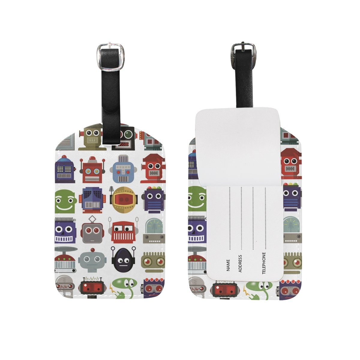 Robot Head Leather Travel Tour Luggage Handbag Personalized Tags Card Labels (2pcs)