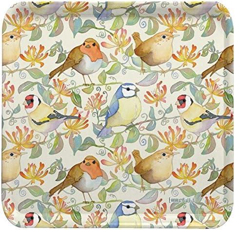 Bandeja de melamina cuadrada de colores con diseño de pájaros de jardín en HONEYSUCKLE – 29 cm: Amazon.es: Hogar