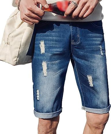 Xinwcang Pantalones Jeans Cortos Para Hombre Casual Clasicos Elasticos Tejanos Anchos Cargo Rotos Vaqueros Amazon Es Ropa Y Accesorios