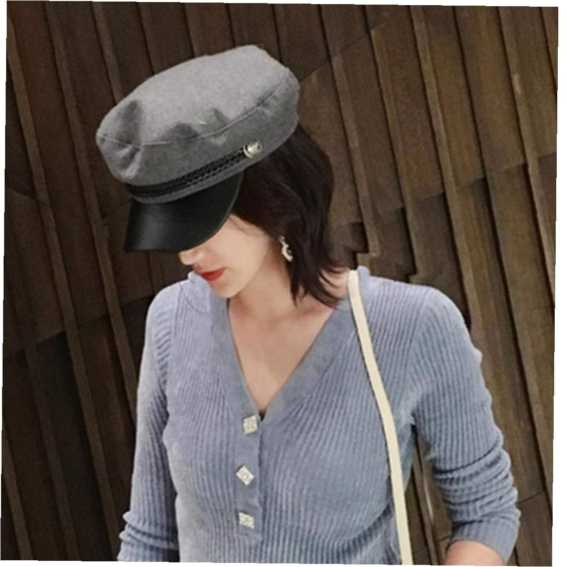 Zonfer Unisex PU-Leder-Milit/är Hut Cotton Matrosenm/ütze Flat Top Travel Cadet Hat Kapit/än Cap