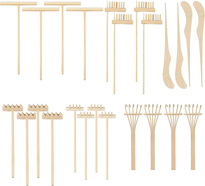 ZOENHOU 24 PCS Mini Zen Garden Rake Tools, Zen Garden Bamboo Sand Rake Set, Meditation and Stress Relief Zen Garden Accessories for DIY Home Office Tabletop Decor