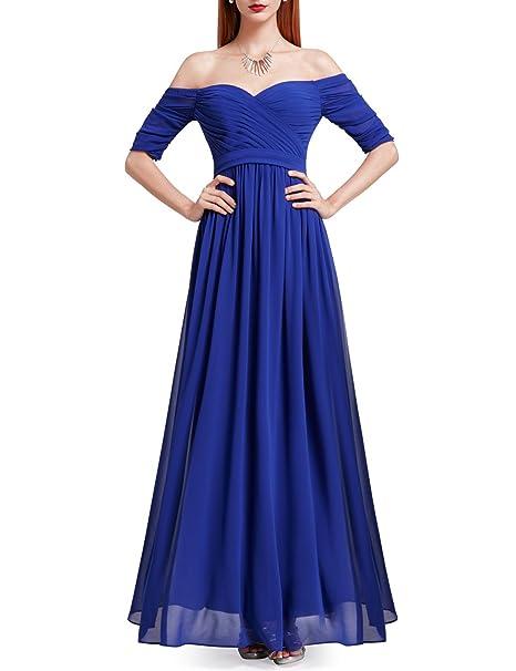 36f30de14a Ever Pretty Women s Empire Wait Half Sleeves A Line Long Chiffon Bridesmaid  Dresses Sapphire Blue 8UK