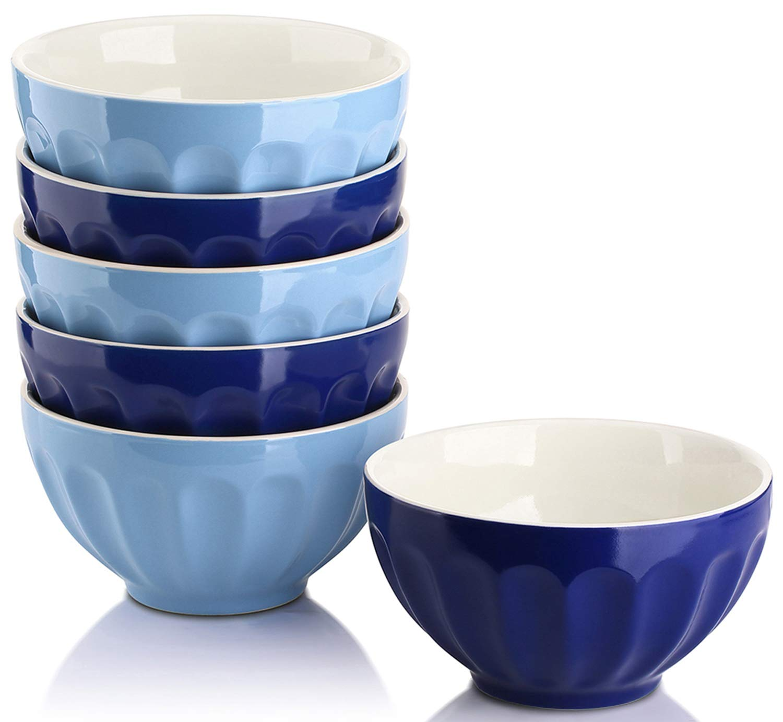 DOWAN 28 Ounce Porcelain Bowls Set for Cereal/Soup - Set of 6, Assorted Colors Sihai