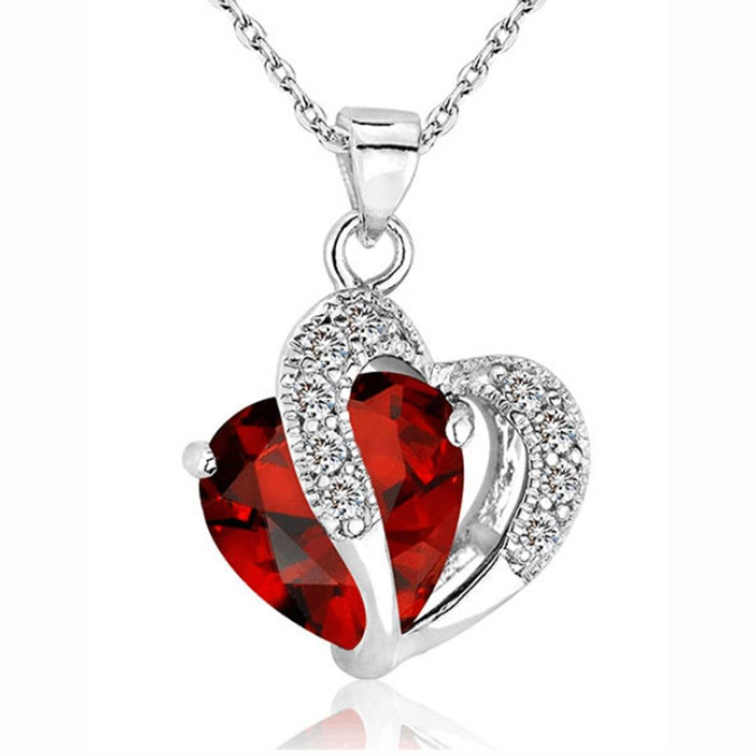 Clearance Women Heart Crystal Rhinestone Silver Chain Pendant Necklace Jewelry by Napoo Napoo-Unisex Jewelry CA-4-14