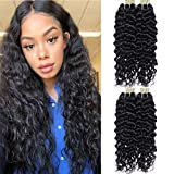 LAREALLEE Good Cheap Weave Brazilian Virgin Hair Water Wave 4 Bundles Deals Wet And Wavy Human Hair Bundles Weaves Remy Human Hair Extensions Natural Black Color 100g/Bundle(16 18 20 22 inch) Review