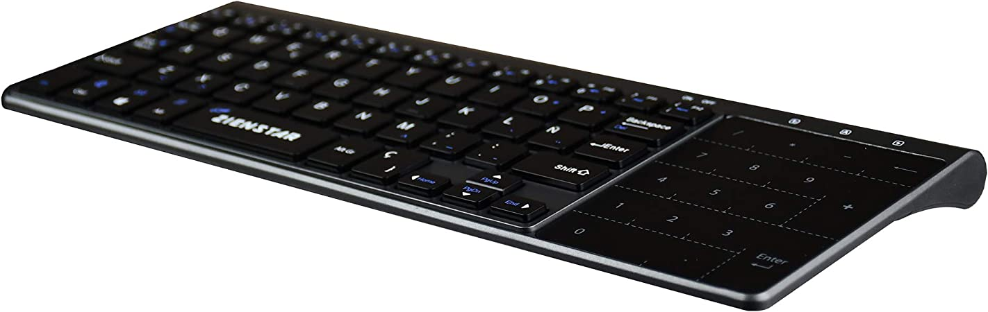Zienstar-2.4Ghz Mini Teclado Inalámbrico con Touchpad y Teclado Numérico, Receptor USB para Smart TV, Android TV Box, HTPC, IPTV, XBOX360, PS3, PC, ...