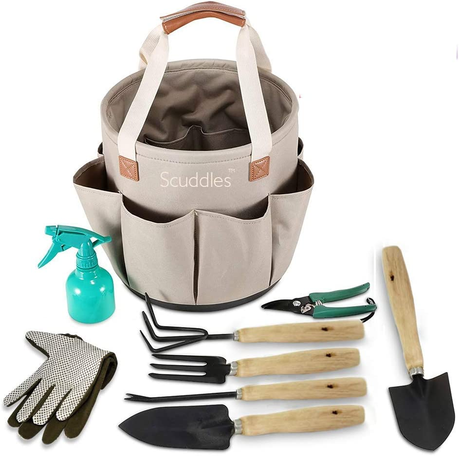 scuddles Garden Tools Set - 9 Piece Heavy Duty Gardening Tools with Storage Organizer, Ergonomic Hand Digging Weeder, Rake, Shovel, Trowel, Sprayer, Gloves Gift for Men & Women (Bucket)