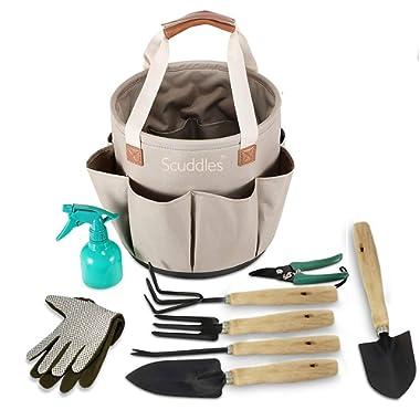 Scuddles Garden Tools Set - 9 Piece Heavy Duty Gardening Tools with Storage Organizer, Ergonomic Hand Digging Weeder, Rake, Shovel, Trowel, Sprayer, Gloves Gift for Men & Women (Bucket)