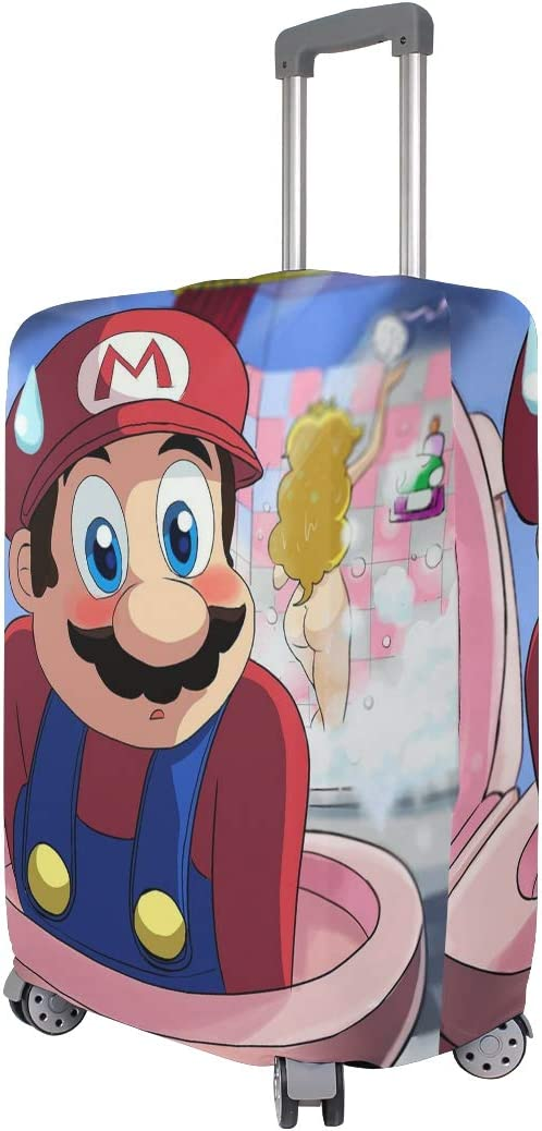 Super Mario Shower Shy Funny Travel Luggage Cover Suitcase Protector Fits 26-28 Inch Washable Baggage Covers