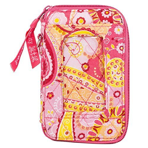 Quilted Fabric Cell Phone Purse Wristlet (Pink - Mall Stores Outlet Vero