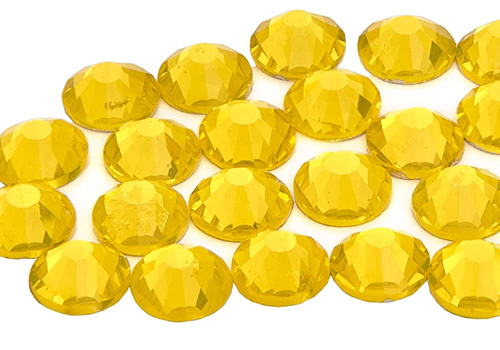 1440 x (Citrine ss10 (3mm), 45 Colours 5 Sizes, EIMASS® 7767 DMC Hot Fix Glass Rhinestones, Flat back Gems, Diamante with Glue Backing, Pack of 1440 Crystals