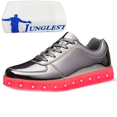 (Present:kleines Handtuch)Silber EU 41, Glow Luminous Lovers leuchten LED Unisex Damen Flashing Silber) mode (Größe Sportschuhe Schuhe 43, Herre