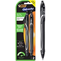 BIC Gel-ocity Quick Dry Gel Ink Pen Medium Point (0.7 mm) - Black, Pack of 2 Gel Pens