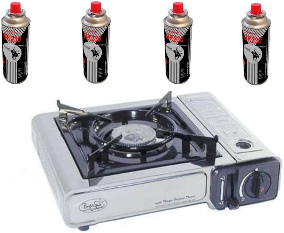 Placa de cocina A gas 1 fuego 4 cartuchos de gas doble ALIMETAZIONE cartuchos desechables/botella