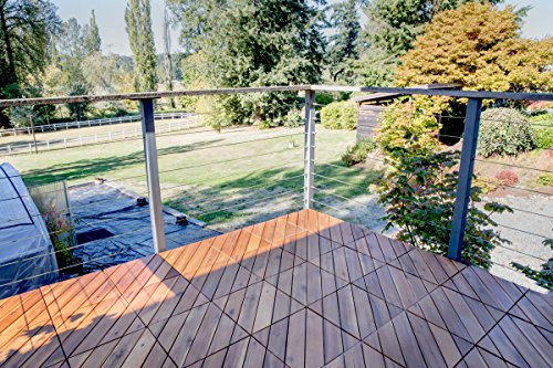 Villa Acacia Wood Interlocking Deck Tiles for Outdoor Patio and Floors - 12 x 12 Inch (Pack of 10) (6 Angle Slat)