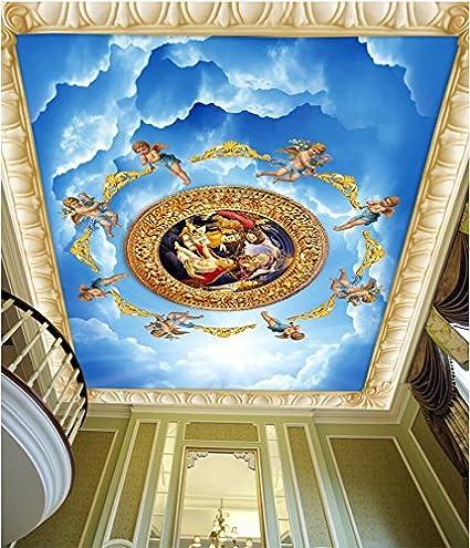 LWCX Custom Photo Ceiling Murals Wallpaper European Sky Angel