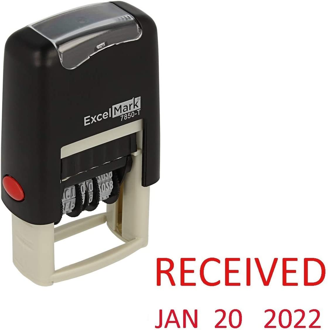 Received - ExcelMark Self-Inking Rubber Date Stamp - Compact Size - Red Ink