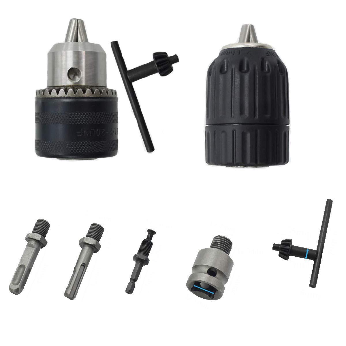 8 piezas 20UNF kit de herramientas convertidor Adaptador de enchufe de alta resistencia v/ástago hexagonal y SDS-Plus de 1//4 pulgadas con martillo de impacto de 1//2 pulgada de 1,5 a 13 mm
