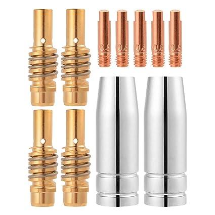 Tutmonda 11 piezas 15AK MIG/MAG Boquilla de soldadura Puntas contacto 1x25mm M6 Juego soporte